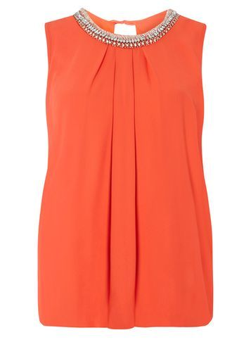 Womens Orange Bubble Hem Embellished Top Orange - pattern: plain; sleeve style: sleeveless; predominant colour: bright orange; occasions: evening; length: standard; style: top; fibres: polyester/polyamide - 100%; fit: body skimming; neckline: crew; sleeve length: sleeveless; texture group: sheer fabrics/chiffon/organza etc.; pattern type: fabric; embellishment: crystals/glass; season: s/s 2016; wardrobe: event