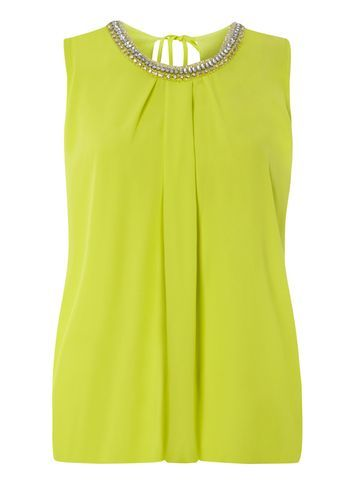 Womens Lime Bubble Hem Embellished Top Green - pattern: plain; sleeve style: sleeveless; bust detail: added detail/embellishment at bust; style: vest top; predominant colour: lime; occasions: evening; length: standard; fibres: polyester/polyamide - 100%; fit: body skimming; neckline: crew; sleeve length: sleeveless; texture group: sheer fabrics/chiffon/organza etc.; pattern type: fabric; embellishment: crystals/glass; season: s/s 2016; wardrobe: event