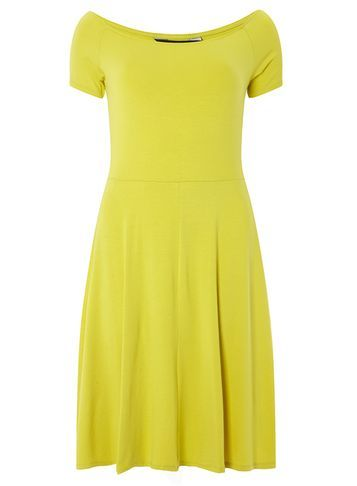 Womens Lime Bardot Fit And Flare Dress Lime - neckline: off the shoulder; pattern: plain; predominant colour: yellow; occasions: casual; length: on the knee; fit: fitted at waist & bust; style: fit & flare; fibres: viscose/rayon - stretch; sleeve length: short sleeve; sleeve style: standard; pattern type: fabric; texture group: jersey - stretchy/drapey; season: s/s 2016; wardrobe: highlight