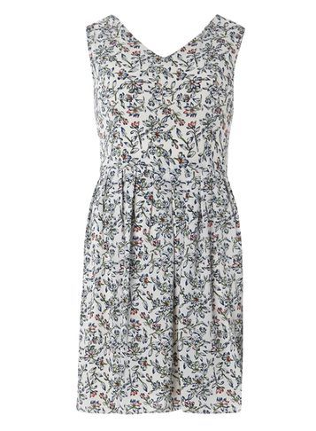 Womens **Tenki White V Neck Floral Dress White - neckline: v-neck; sleeve style: sleeveless; predominant colour: white; secondary colour: mid grey; occasions: casual; length: just above the knee; fit: fitted at waist & bust; style: fit & flare; fibres: polyester/polyamide - 100%; sleeve length: sleeveless; pattern type: fabric; pattern: florals; texture group: other - light to midweight; multicoloured: multicoloured; season: s/s 2016; wardrobe: highlight