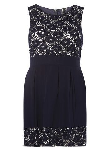 Womens **Izabel London Navy Two In One Skater Dress Blue - style: shift; length: mini; sleeve style: sleeveless; secondary colour: ivory/cream; predominant colour: navy; occasions: evening; fit: body skimming; fibres: viscose/rayon - 100%; neckline: crew; sleeve length: sleeveless; texture group: lace; pattern type: fabric; pattern size: standard; pattern: patterned/print; embellishment: lace; season: s/s 2016; wardrobe: event