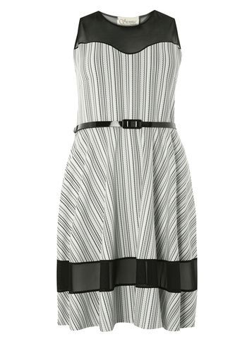 Womens **Sienna.C Monochrome Skater Dress Black - pattern: vertical stripes; sleeve style: sleeveless; waist detail: belted waist/tie at waist/drawstring; predominant colour: light grey; secondary colour: black; occasions: evening; length: just above the knee; fit: fitted at waist & bust; style: fit & flare; fibres: polyester/polyamide - stretch; neckline: crew; sleeve length: sleeveless; trends: monochrome; pattern type: fabric; texture group: woven light midweight; multicoloured: multicoloured; season: s/s 2016; wardrobe: event