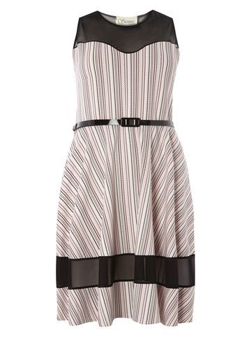 Womens **Sienna.C Multi Skater Dress Multi Colour - sleeve style: sleeveless; pattern: striped; bust detail: sheer at bust; waist detail: belted waist/tie at waist/drawstring; predominant colour: light grey; secondary colour: black; occasions: evening; length: just above the knee; fit: fitted at waist & bust; style: fit & flare; fibres: polyester/polyamide - stretch; neckline: crew; sleeve length: sleeveless; pattern type: fabric; texture group: jersey - stretchy/drapey; multicoloured: multicoloured; season: s/s 2016; wardrobe: event