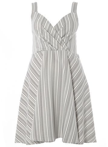 Womens **Sienna.C Black Striped Sundress Black - neckline: v-neck; sleeve style: sleeveless; pattern: striped; secondary colour: white; predominant colour: light grey; occasions: evening; length: just above the knee; fit: fitted at waist & bust; style: fit & flare; fibres: polyester/polyamide - stretch; sleeve length: sleeveless; trends: monochrome; texture group: cotton feel fabrics; pattern type: fabric; multicoloured: multicoloured; season: s/s 2016