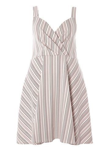 Womens **Sienna.C Multi Striped Sundress Multi Colour - neckline: v-neck; sleeve style: sleeveless; pattern: striped; secondary colour: white; predominant colour: light grey; occasions: evening; length: just above the knee; fit: fitted at waist & bust; style: fit & flare; fibres: polyester/polyamide - stretch; sleeve length: sleeveless; pattern type: fabric; texture group: jersey - stretchy/drapey; multicoloured: multicoloured; season: s/s 2016; wardrobe: event