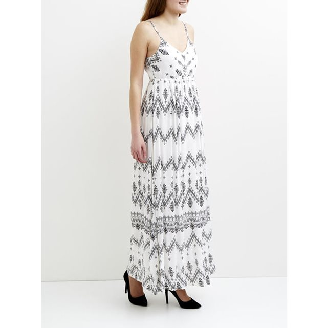 Long Print Dress - sleeve style: spaghetti straps; fit: empire; length: ankle length; predominant colour: ivory/cream; secondary colour: black; style: asymmetric (hem); neckline: scoop; fibres: cotton - 100%; hip detail: subtle/flattering hip detail; sleeve length: sleeveless; trends: monochrome; texture group: cotton feel fabrics; occasions: holiday; pattern type: fabric; pattern size: standard; pattern: patterned/print; season: s/s 2016; wardrobe: holiday