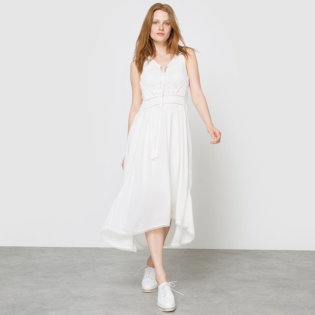Maxi Dress - length: below the knee; neckline: low v-neck; sleeve style: standard vest straps/shoulder straps; pattern: plain; style: sundress; predominant colour: white; occasions: casual, holiday; fit: fitted at waist & bust; fibres: viscose/rayon - 100%; hip detail: soft pleats at hip/draping at hip/flared at hip; sleeve length: sleeveless; texture group: sheer fabrics/chiffon/organza etc.; pattern type: fabric; season: s/s 2016; wardrobe: basic