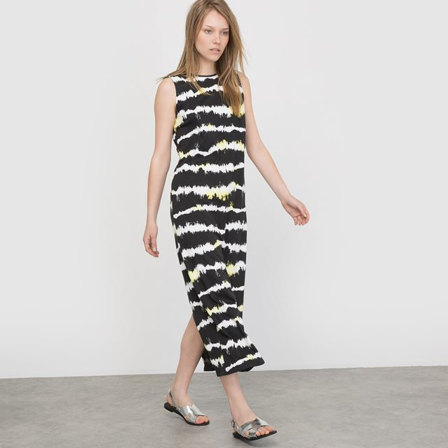 Sleeveless Striped Maxi Dress - neckline: slash/boat neckline; sleeve style: sleeveless; style: maxi dress; length: ankle length; secondary colour: ivory/cream; predominant colour: black; occasions: casual; fit: body skimming; fibres: cotton - 100%; sleeve length: sleeveless; trends: monochrome; pattern type: fabric; pattern size: standard; pattern: patterned/print; texture group: jersey - stretchy/drapey; season: s/s 2016; wardrobe: highlight