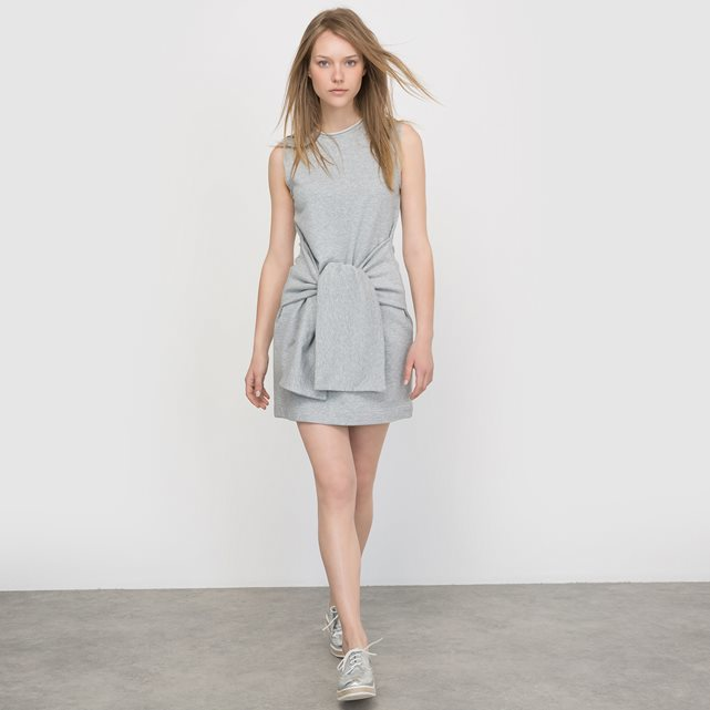 Bow Dress - style: shift; length: mid thigh; pattern: plain; sleeve style: sleeveless; waist detail: belted waist/tie at waist/drawstring; predominant colour: light grey; occasions: evening; fit: body skimming; fibres: cotton - 100%; neckline: crew; sleeve length: sleeveless; pattern type: fabric; texture group: jersey - stretchy/drapey; season: s/s 2016; wardrobe: event