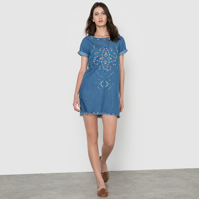 Martha Denim Shift Dress - style: shift; length: mini; predominant colour: denim; occasions: casual; fit: body skimming; fibres: cotton - 100%; neckline: crew; sleeve length: short sleeve; sleeve style: standard; texture group: denim; pattern type: fabric; pattern: patterned/print; embellishment: embroidered; season: s/s 2016