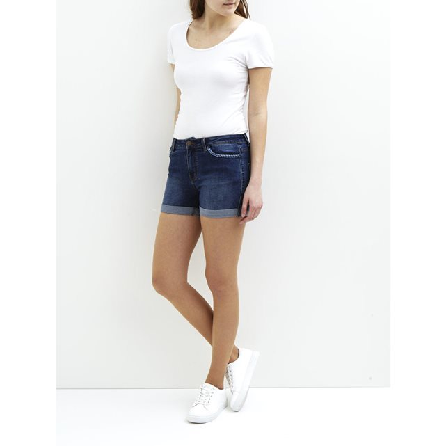 Shorts Fem Wov 5 Pocket Denim Shorts - pattern: plain; pocket detail: traditional 5 pocket; waist: mid/regular rise; predominant colour: navy; occasions: casual; fibres: cotton - stretch; texture group: denim; pattern type: fabric; season: s/s 2016; wardrobe: basic; style: denim; length: short shorts; fit: skinny/tight leg