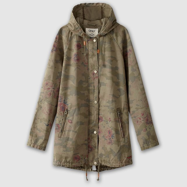 Long Printed Hooded Parka - collar: funnel; style: parka; length: mid thigh; predominant colour: khaki; occasions: casual; fit: straight cut (boxy); fibres: cotton - 100%; sleeve length: long sleeve; sleeve style: standard; texture group: technical outdoor fabrics; collar break: high; pattern type: fabric; pattern size: standard; pattern: camouflage; multicoloured: multicoloured; season: s/s 2016