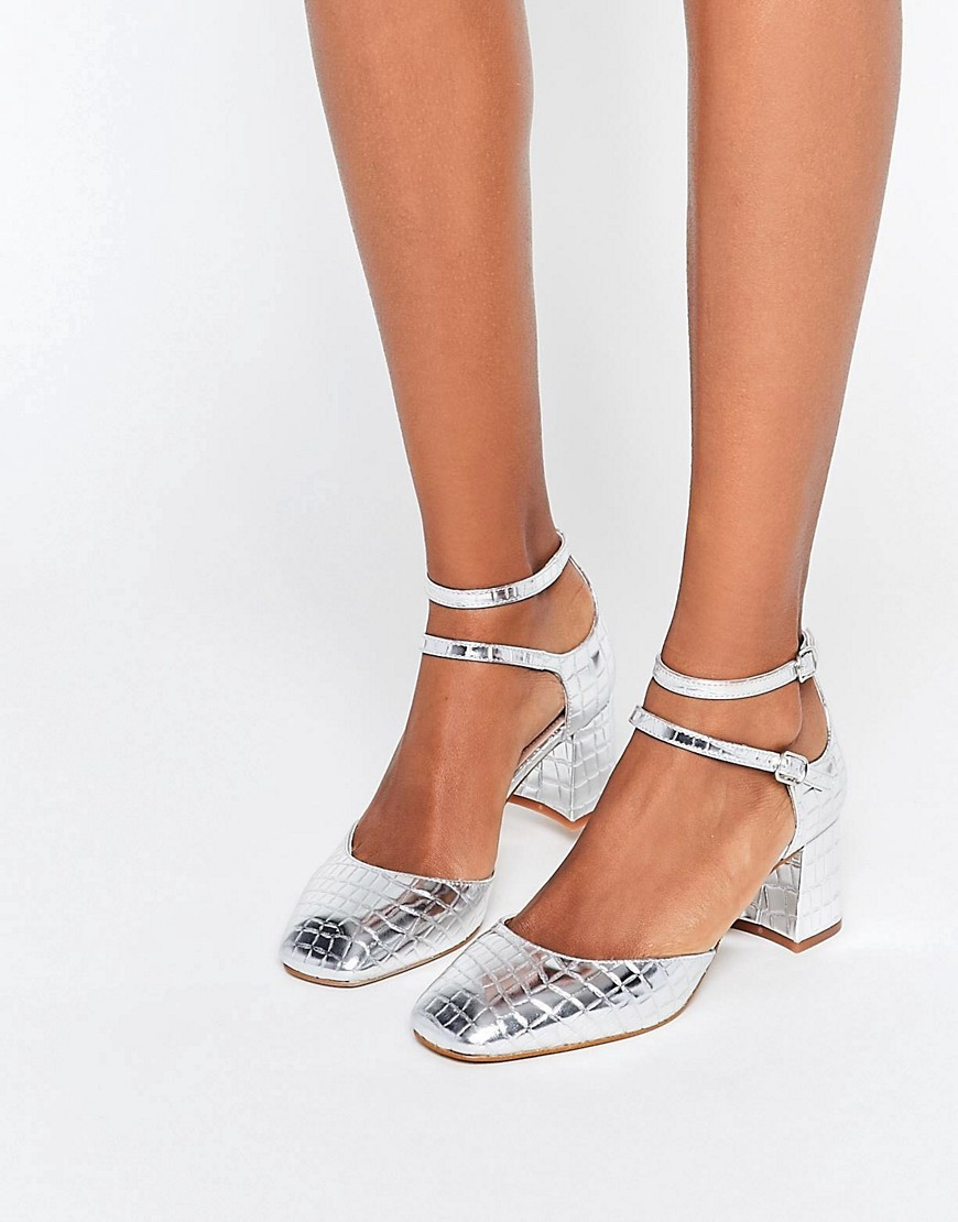 Kg Kurt Geiger Dolly Silver Croc Mid Heeled Shoes Silver - predominant colour: silver; occasions: evening, occasion; material: faux leather; heel height: mid; ankle detail: ankle strap; heel: block; toe: square toe; style: courts; finish: metallic; pattern: plain; season: s/s 2016; wardrobe: event