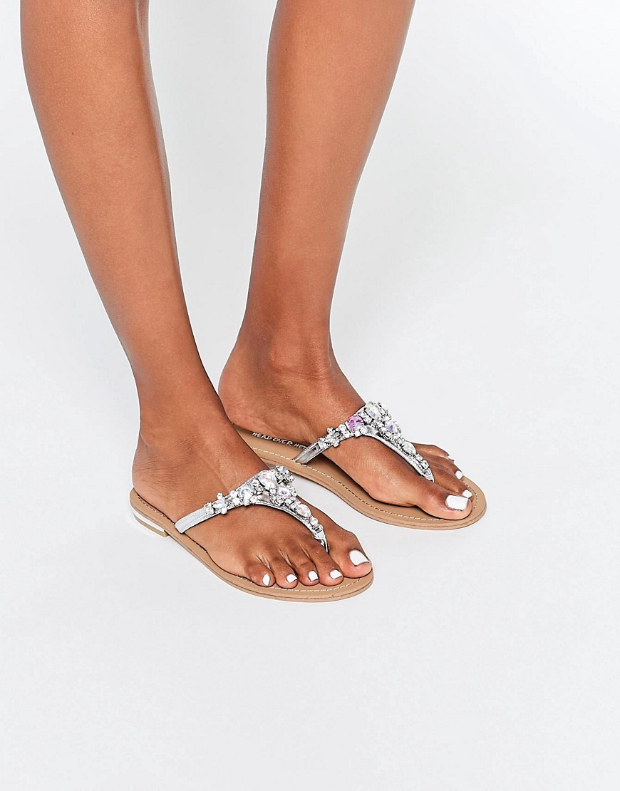 By Dune Silver Embellished Flat Sandals Silver - predominant colour: silver; occasions: casual, holiday; material: leather; heel height: flat; embellishment: crystals/glass; heel: block; toe: toe thongs; style: strappy; finish: metallic; pattern: plain; season: s/s 2016; wardrobe: highlight