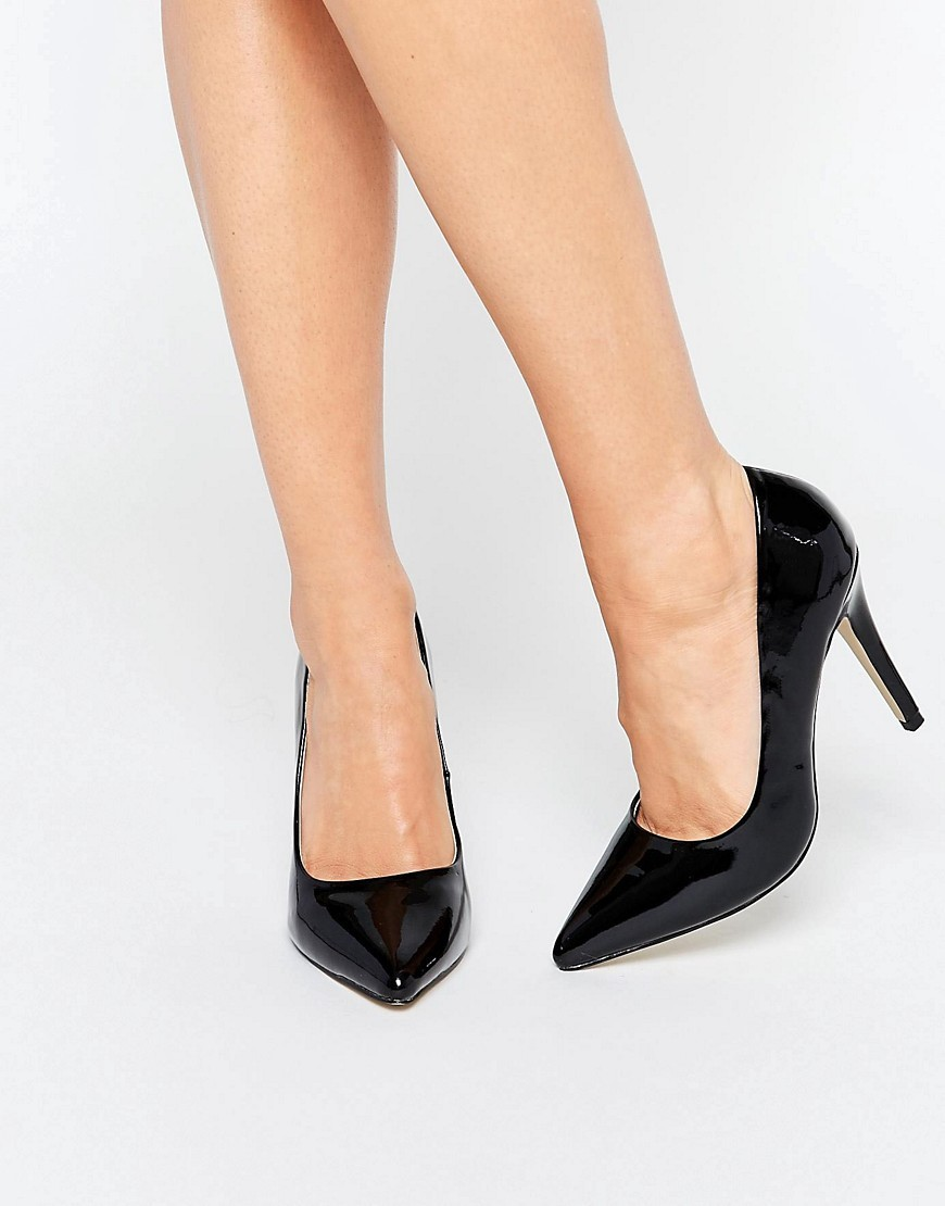 By Dune Audrine Patent Black Heeled Court Shoes Black - predominant colour: black; occasions: evening, work, occasion; material: faux leather; heel height: high; heel: stiletto; toe: pointed toe; style: courts; finish: patent; pattern: plain; season: s/s 2016; wardrobe: investment