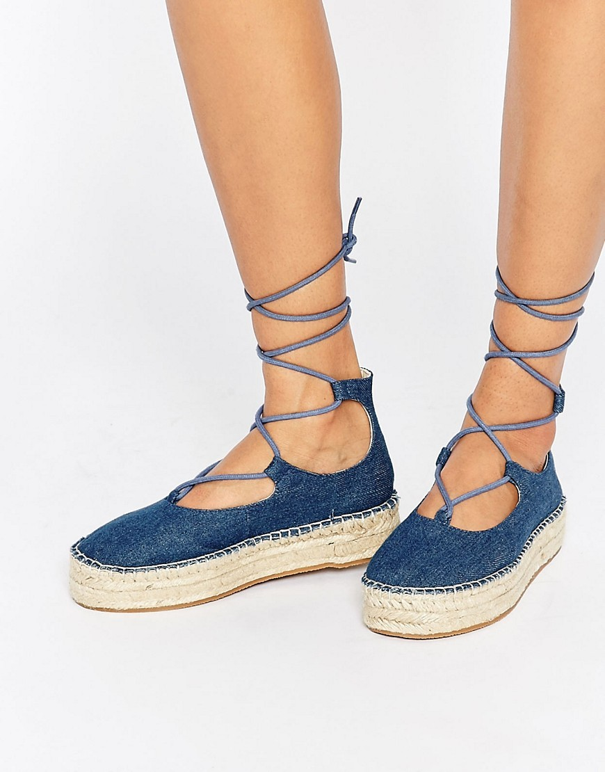 Jazz Denim Tie Leg Espadrilles Denim - predominant colour: denim; occasions: casual; material: fabric; heel height: flat; ankle detail: ankle tie; toe: round toe; finish: plain; pattern: plain; style: espadrilles; shoe detail: platform; season: s/s 2016; wardrobe: highlight