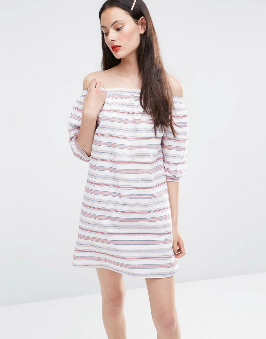 Off Shoulder Sundress In Stripe Multi - length: mid thigh; neckline: off the shoulder; pattern: horizontal stripes; style: sundress; predominant colour: white; secondary colour: blush; occasions: casual; fit: body skimming; fibres: cotton - 100%; sleeve length: 3/4 length; sleeve style: standard; pattern type: fabric; texture group: other - light to midweight; multicoloured: multicoloured; season: s/s 2016; wardrobe: highlight
