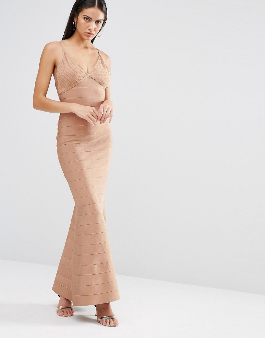 Cami Bandage Maxi Dress Mauve - neckline: low v-neck; sleeve style: spaghetti straps; fit: tight; pattern: plain; style: maxi dress; predominant colour: nude; occasions: evening; length: floor length; fibres: polyester/polyamide - stretch; sleeve length: sleeveless; texture group: jersey - clingy; pattern type: fabric; season: s/s 2016; wardrobe: event