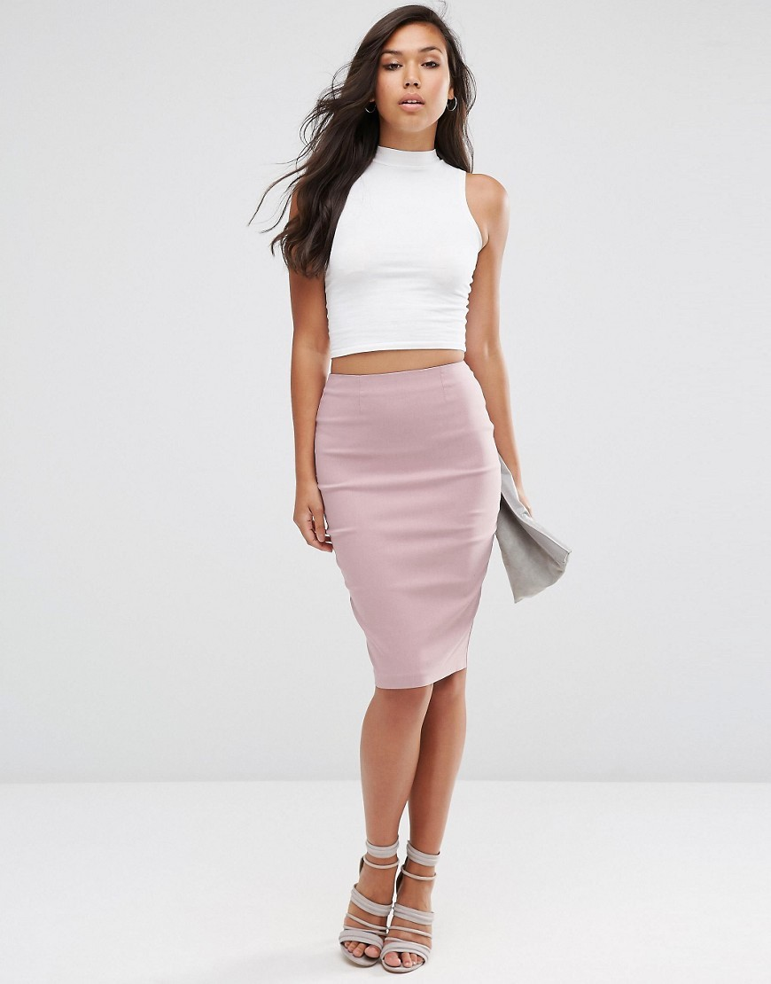 High Waisted Pencil Skirt Soft Pink - pattern: plain; style: pencil; fit: tight; waist: mid/regular rise; predominant colour: pink; occasions: evening; length: on the knee; fibres: viscose/rayon - stretch; texture group: jersey - clingy; pattern type: fabric; season: s/s 2016