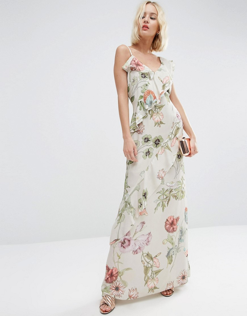 Botanical Ruffle Soft Cami Maxi Dress Multi - neckline: low v-neck; sleeve style: sleeveless; style: maxi dress; predominant colour: ivory/cream; length: floor length; fit: body skimming; fibres: polyester/polyamide - 100%; occasions: occasion; sleeve length: sleeveless; texture group: sheer fabrics/chiffon/organza etc.; bust detail: tiers/frills/bulky drapes/pleats; pattern type: fabric; pattern size: standard; pattern: florals; season: s/s 2016
