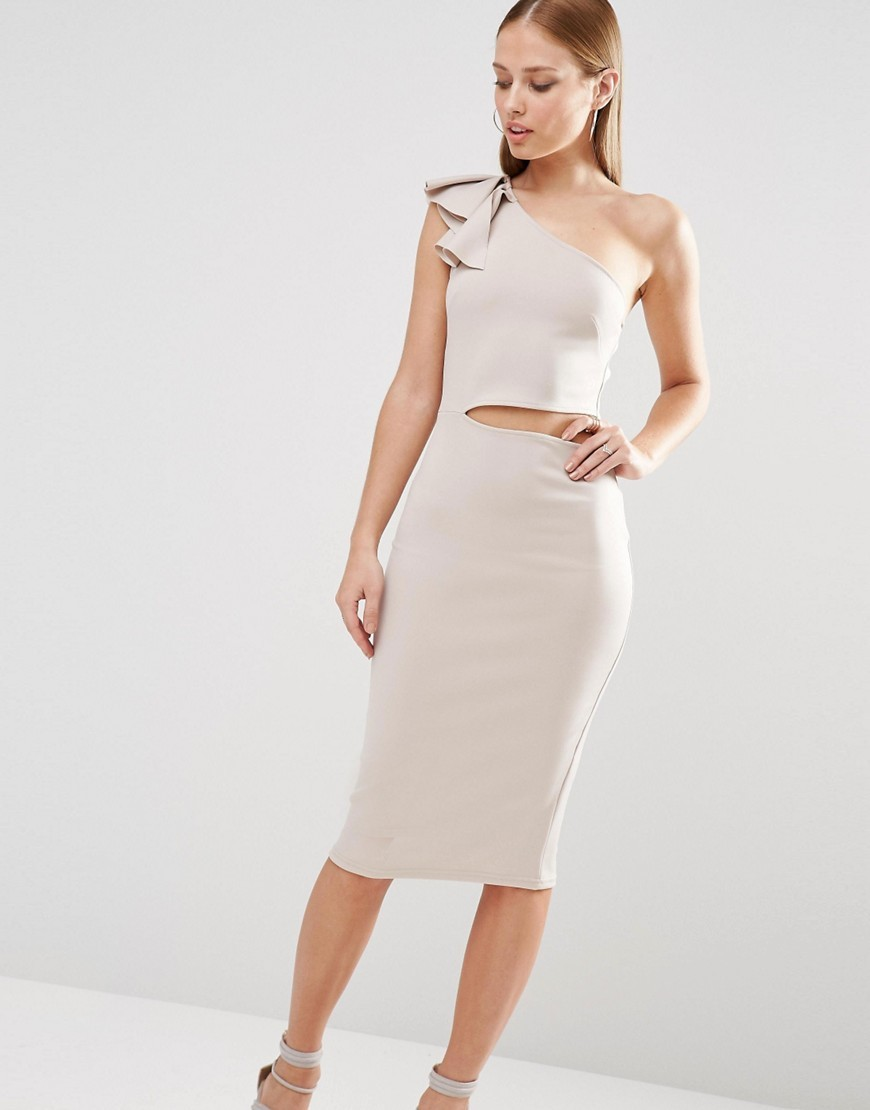Frill Shoulder Bodycon Midi Dress With Side Cut Out Light Grey - length: below the knee; fit: tight; pattern: plain; sleeve style: sleeveless; style: bodycon; neckline: asymmetric; predominant colour: stone; fibres: polyester/polyamide - stretch; occasions: occasion; waist detail: cut out detail; sleeve length: sleeveless; texture group: jersey - clingy; pattern type: fabric; season: s/s 2016; wardrobe: event