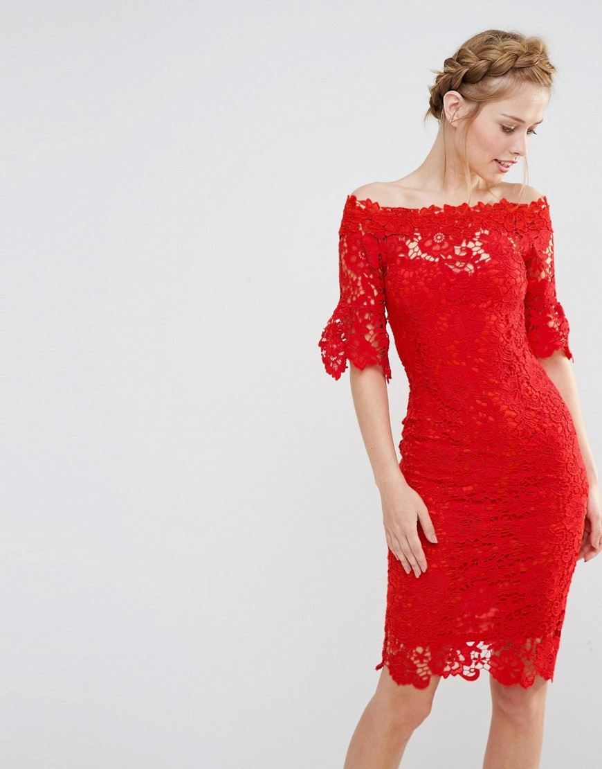 Off Shoulder Crochet Dress With Frill Sleeve Red - neckline: off the shoulder; fit: tight; style: bodycon; waist detail: embellishment at waist/feature waistband; predominant colour: true red; occasions: evening; length: on the knee; fibres: polyester/polyamide - 100%; sleeve length: half sleeve; sleeve style: standard; texture group: lace; pattern type: fabric; pattern: patterned/print; season: s/s 2016; wardrobe: event