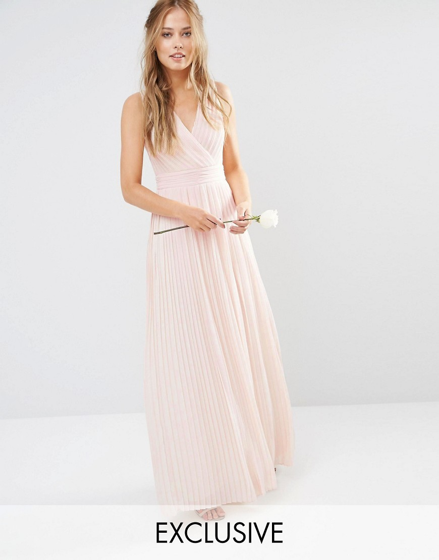 Wedding Pleated Wrap Maxi Dress Nude - neckline: v-neck; pattern: plain; sleeve style: sleeveless; style: maxi dress; predominant colour: nude; occasions: evening; length: floor length; fit: body skimming; fibres: polyester/polyamide - 100%; sleeve length: sleeveless; pattern type: fabric; texture group: jersey - stretchy/drapey; season: s/s 2016; wardrobe: event