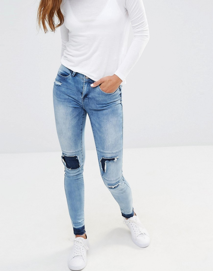 Patchwork Jeans With Released Hem Detail Medium Blue - style: skinny leg; length: standard; pattern: plain; pocket detail: traditional 5 pocket; waist: mid/regular rise; predominant colour: denim; occasions: casual; fibres: cotton - stretch; jeans detail: washed/faded, rips; texture group: denim; pattern type: fabric; season: s/s 2016