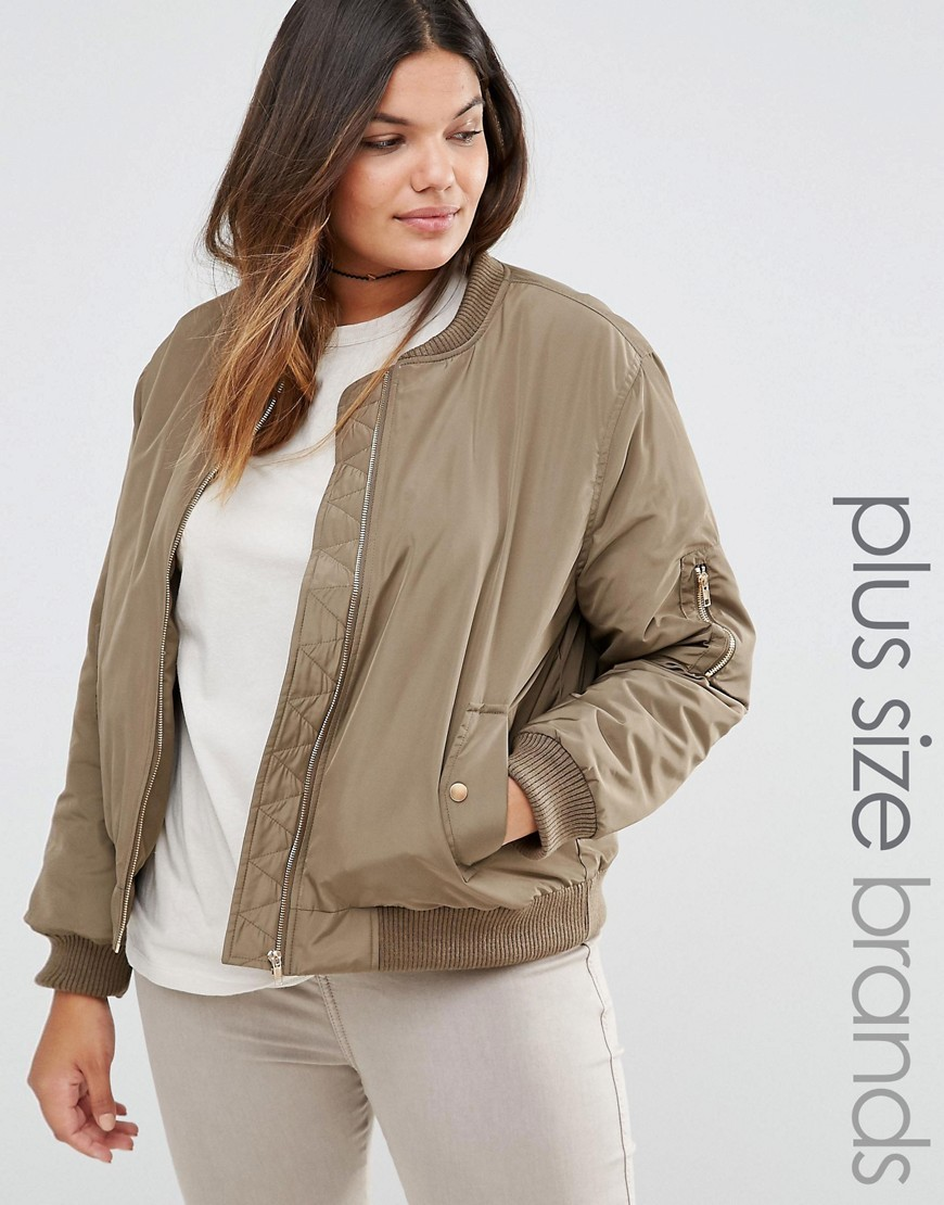 Satin Bomber Jacket With Contrast Lining Green - pattern: plain; collar: round collar/collarless; style: bomber; predominant colour: stone; occasions: casual; length: standard; fit: straight cut (boxy); fibres: polyester/polyamide - 100%; sleeve length: long sleeve; sleeve style: standard; collar break: high; pattern type: fabric; texture group: other - light to midweight; season: s/s 2016
