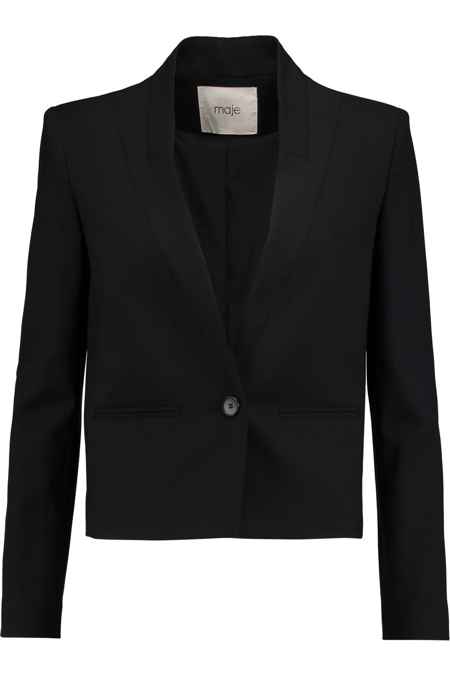Victoire Crepe Blazer Black - pattern: plain; style: single breasted blazer; collar: standard lapel/rever collar; predominant colour: black; length: standard; fit: tailored/fitted; fibres: polyester/polyamide - mix; sleeve length: long sleeve; sleeve style: standard; texture group: crepes; collar break: medium; pattern type: fabric; occasions: creative work; season: s/s 2016; wardrobe: investment