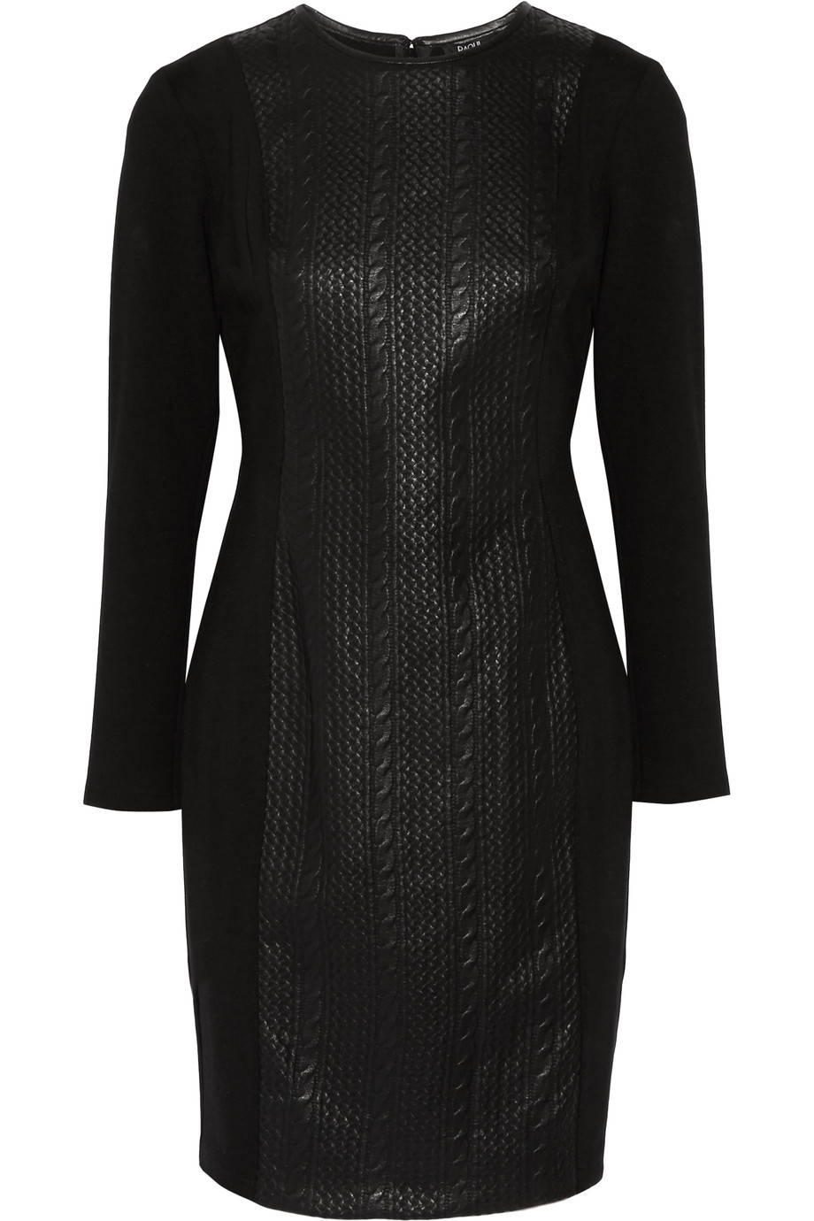 Paneled Faux Textured Leather And Cotton Blend Dress Black - length: mid thigh; fit: tight; pattern: plain; style: bodycon; predominant colour: black; occasions: evening; fibres: cotton - mix; neckline: crew; sleeve length: long sleeve; sleeve style: standard; texture group: leather; pattern type: fabric; season: s/s 2016; wardrobe: event