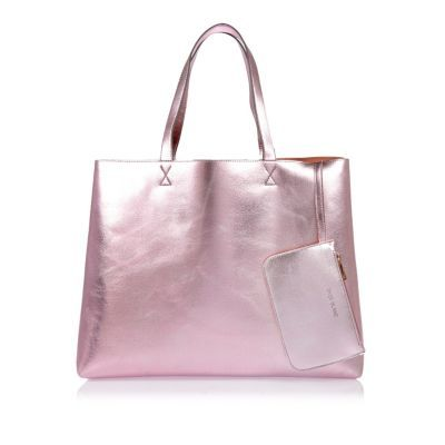 Womens Metallic Pink Reversible Beach Shopper Bag - predominant colour: pink; occasions: casual, creative work; type of pattern: standard; style: tote; length: handle; size: oversized; material: faux leather; pattern: plain; finish: metallic; season: s/s 2016