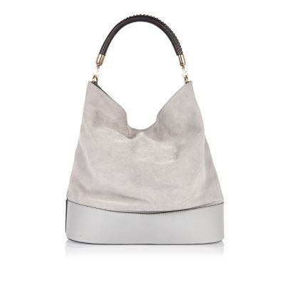 Womens Grey Suede Slouch Bag - predominant colour: mid grey; occasions: casual, creative work; type of pattern: standard; length: handle; size: oversized; material: suede; pattern: plain; finish: plain; style: hobo; season: s/s 2016; wardrobe: investment