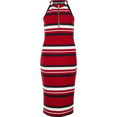 Womens Red Sporty Stripe Bodycon Dress - length: calf length; fit: tight; pattern: horizontal stripes; sleeve style: sleeveless; neckline: high neck; style: bodycon; secondary colour: white; predominant colour: burgundy; occasions: evening; fibres: viscose/rayon - stretch; sleeve length: sleeveless; texture group: jersey - clingy; pattern type: fabric; multicoloured: multicoloured; season: s/s 2016; wardrobe: event; embellishment location: bust