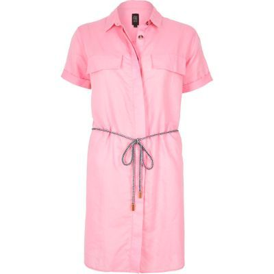 Womens Pink Linen Rich Shirt Dress - style: shirt; length: mid thigh; neckline: shirt collar/peter pan/zip with opening; pattern: plain; bust detail: pocket detail at bust; waist detail: belted waist/tie at waist/drawstring; predominant colour: pink; occasions: casual, creative work; fit: straight cut; fibres: linen - mix; sleeve length: short sleeve; sleeve style: standard; texture group: linen; pattern type: fabric; season: s/s 2016