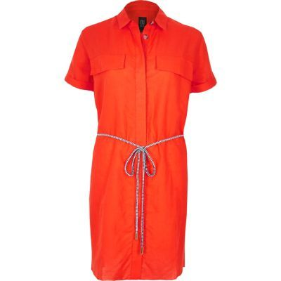 Womens Orange Linen Rich Shirt Dress - style: shirt; length: mid thigh; neckline: shirt collar/peter pan/zip with opening; pattern: plain; bust detail: pocket detail at bust; waist detail: belted waist/tie at waist/drawstring; predominant colour: bright orange; occasions: casual, creative work; fit: straight cut; fibres: linen - 100%; sleeve length: short sleeve; sleeve style: standard; texture group: linen; pattern type: fabric; season: s/s 2016
