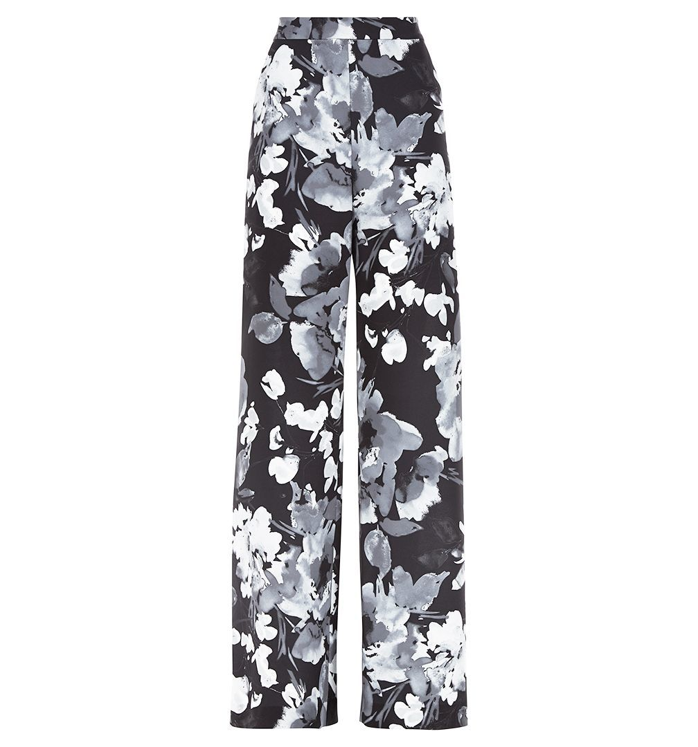 Delphine Trouser, Multi Coloured - length: standard; style: palazzo; waist: mid/regular rise; predominant colour: charcoal; secondary colour: light grey; occasions: casual; fibres: polyester/polyamide - 100%; fit: wide leg; pattern type: fabric; pattern: florals; texture group: other - light to midweight; pattern size: big & busy (bottom); multicoloured: multicoloured; season: s/s 2016; wardrobe: highlight
