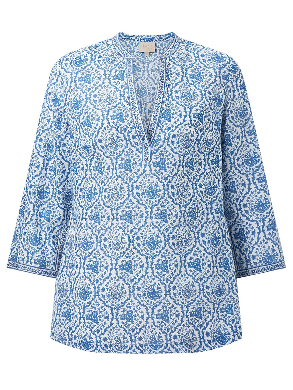 Sahara Print Blouse, White - neckline: v-neck; style: blouse; secondary colour: white; predominant colour: pale blue; occasions: casual, holiday; length: standard; fibres: cotton - 100%; fit: body skimming; sleeve length: 3/4 length; sleeve style: standard; texture group: cotton feel fabrics; pattern type: fabric; pattern: patterned/print; multicoloured: multicoloured; season: s/s 2016; wardrobe: highlight