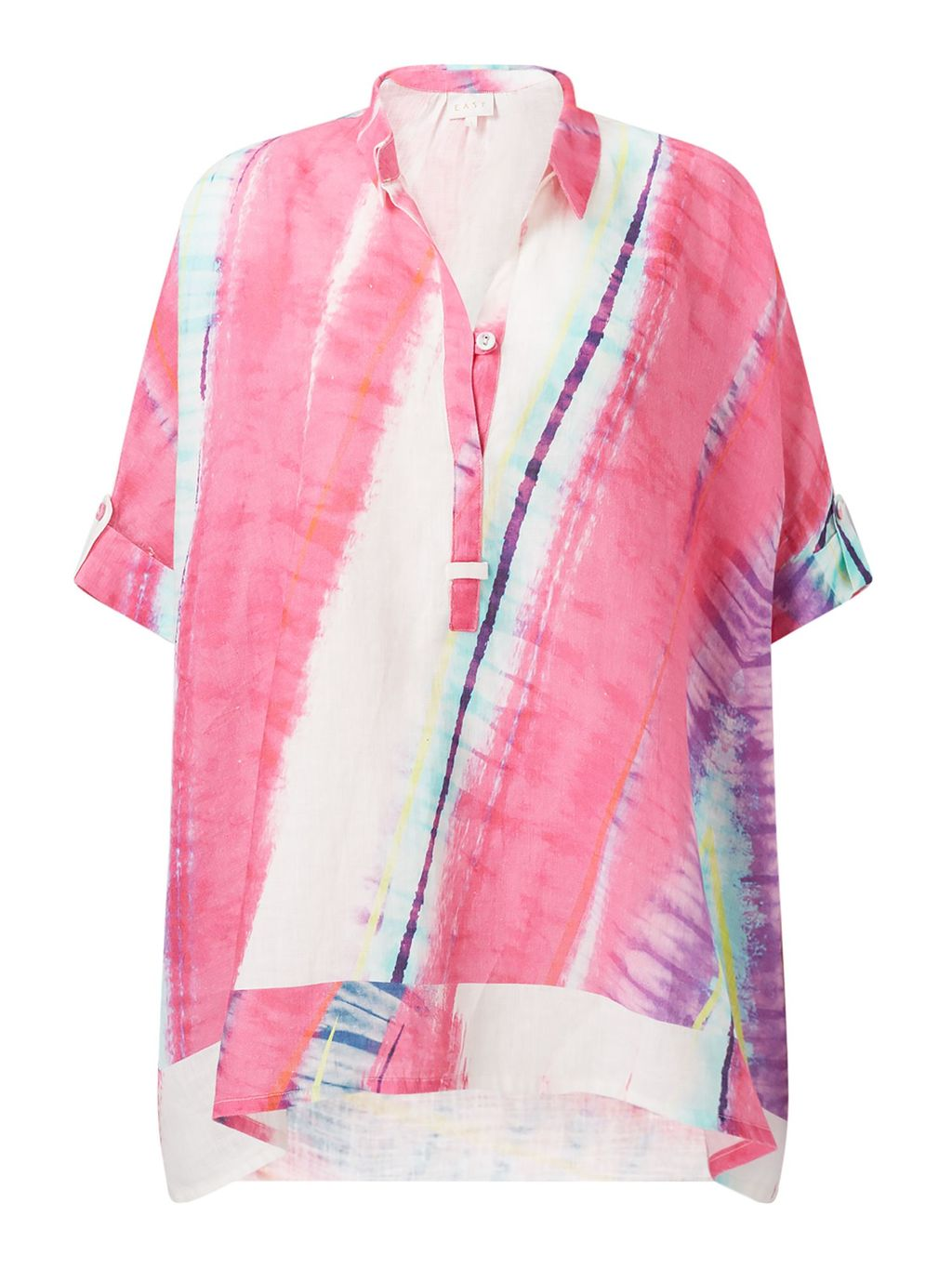 Abstract Handkerchief Top, Multi Coloured - neckline: shirt collar/peter pan/zip with opening; style: shirt; secondary colour: white; predominant colour: pink; occasions: casual; length: standard; fibres: linen - 100%; fit: loose; sleeve length: short sleeve; sleeve style: standard; texture group: linen; pattern type: fabric; pattern size: standard; pattern: patterned/print; multicoloured: multicoloured; season: s/s 2016; wardrobe: highlight
