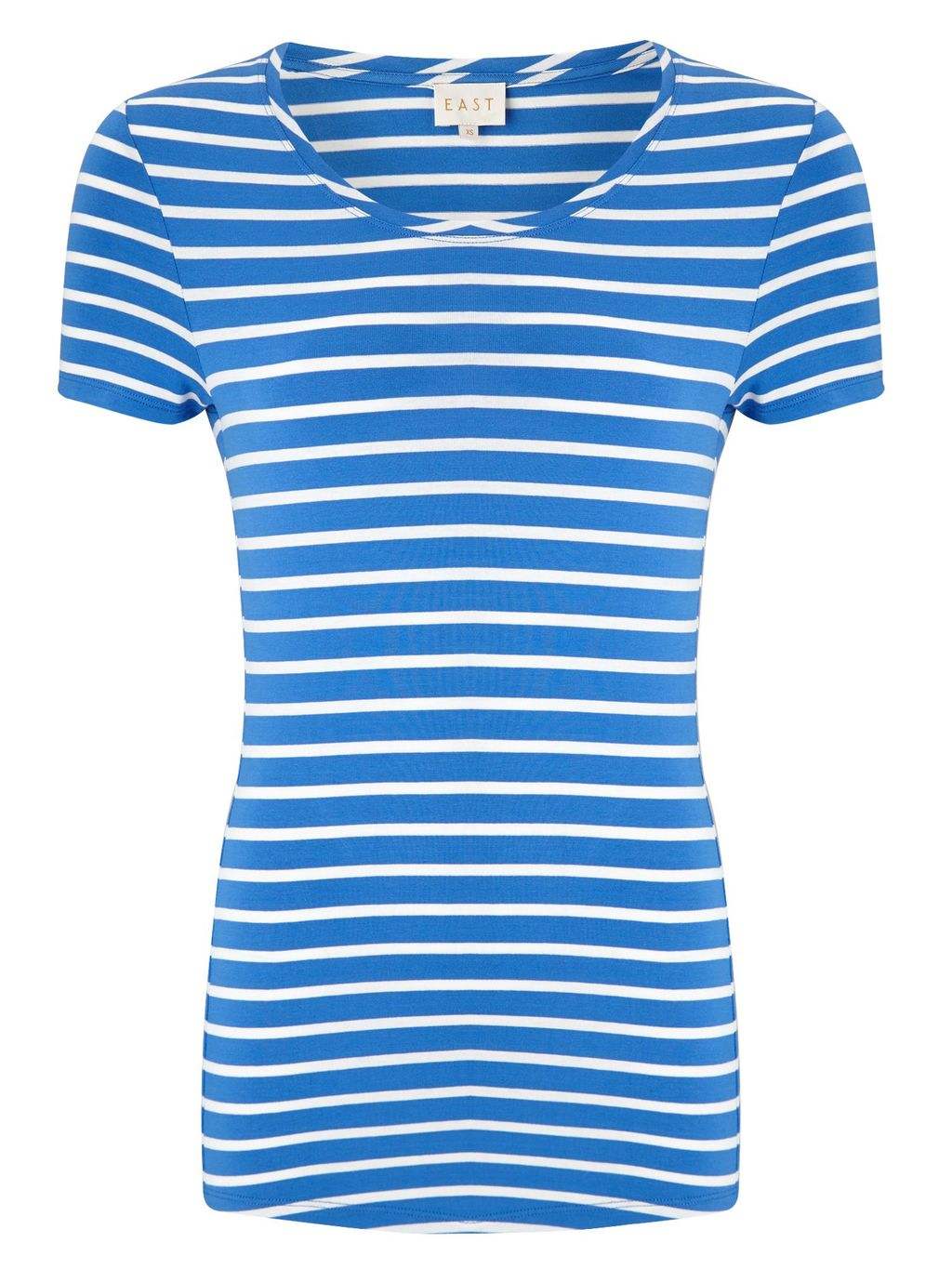 Stripe Basic T Shirt, Blue - neckline: round neck; pattern: horizontal stripes; style: t-shirt; hip detail: draws attention to hips; secondary colour: white; predominant colour: royal blue; occasions: casual; length: standard; fibres: viscose/rayon - stretch; fit: body skimming; sleeve length: short sleeve; sleeve style: standard; pattern type: fabric; pattern size: standard; texture group: jersey - stretchy/drapey; multicoloured: multicoloured; season: s/s 2016; wardrobe: highlight