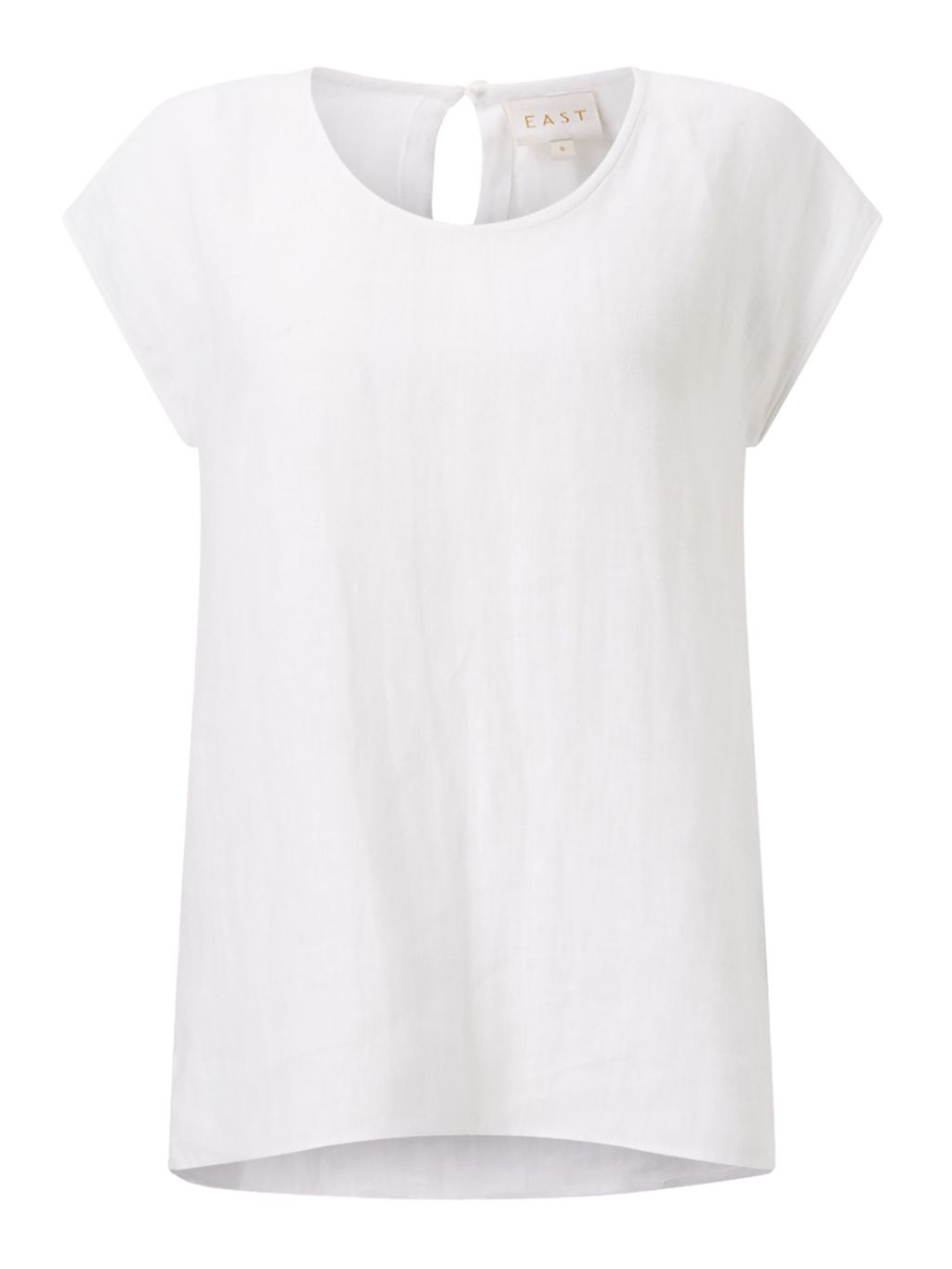 Linen Shell Top, White - sleeve style: capped; pattern: plain; predominant colour: white; occasions: casual; length: standard; style: top; fibres: linen - 100%; fit: body skimming; neckline: crew; sleeve length: short sleeve; texture group: linen; pattern type: fabric; season: s/s 2016