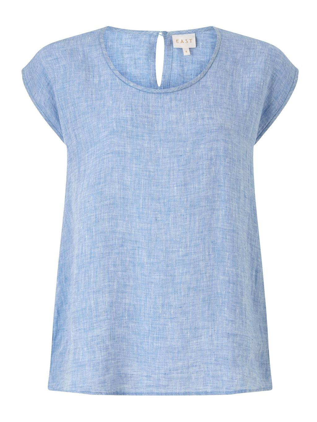 Linen X Dye Shell Top, Blue - pattern: plain; predominant colour: pale blue; occasions: casual; length: standard; style: top; fibres: linen - 100%; fit: body skimming; neckline: crew; sleeve length: short sleeve; sleeve style: standard; texture group: linen; pattern type: fabric; season: s/s 2016; wardrobe: highlight