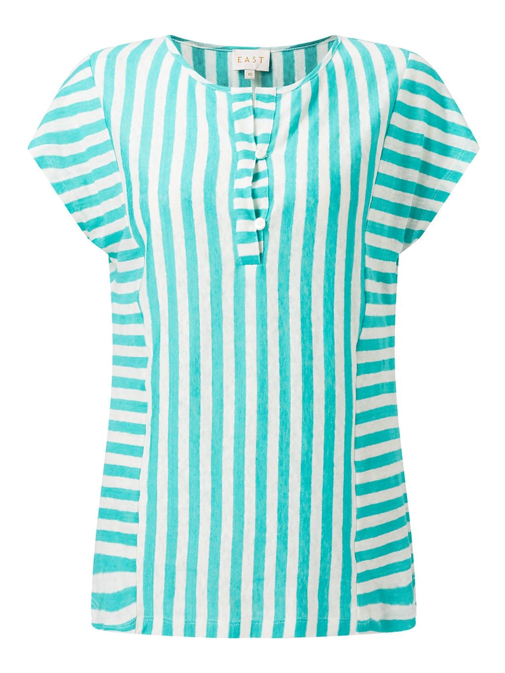 Stripe Jersey Top, Green - pattern: striped; secondary colour: white; predominant colour: mint green; occasions: casual; length: standard; style: top; fibres: linen - 100%; fit: body skimming; neckline: crew; sleeve length: short sleeve; sleeve style: standard; texture group: linen; pattern type: fabric; pattern size: standard; multicoloured: multicoloured; season: s/s 2016; wardrobe: highlight