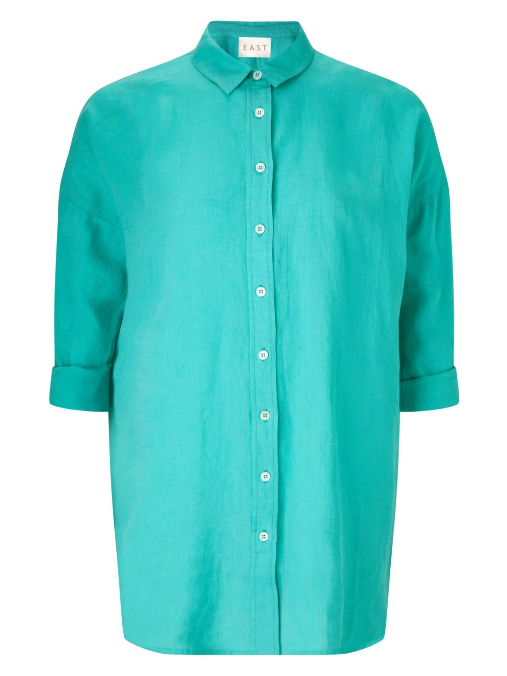 Oversized Linen Shirt, Green - neckline: shirt collar/peter pan/zip with opening; pattern: plain; style: shirt; hip detail: fitted at hip; predominant colour: mint green; occasions: casual; length: standard; fibres: linen - 100%; fit: body skimming; sleeve length: 3/4 length; sleeve style: standard; texture group: linen; pattern type: fabric; season: s/s 2016; wardrobe: highlight