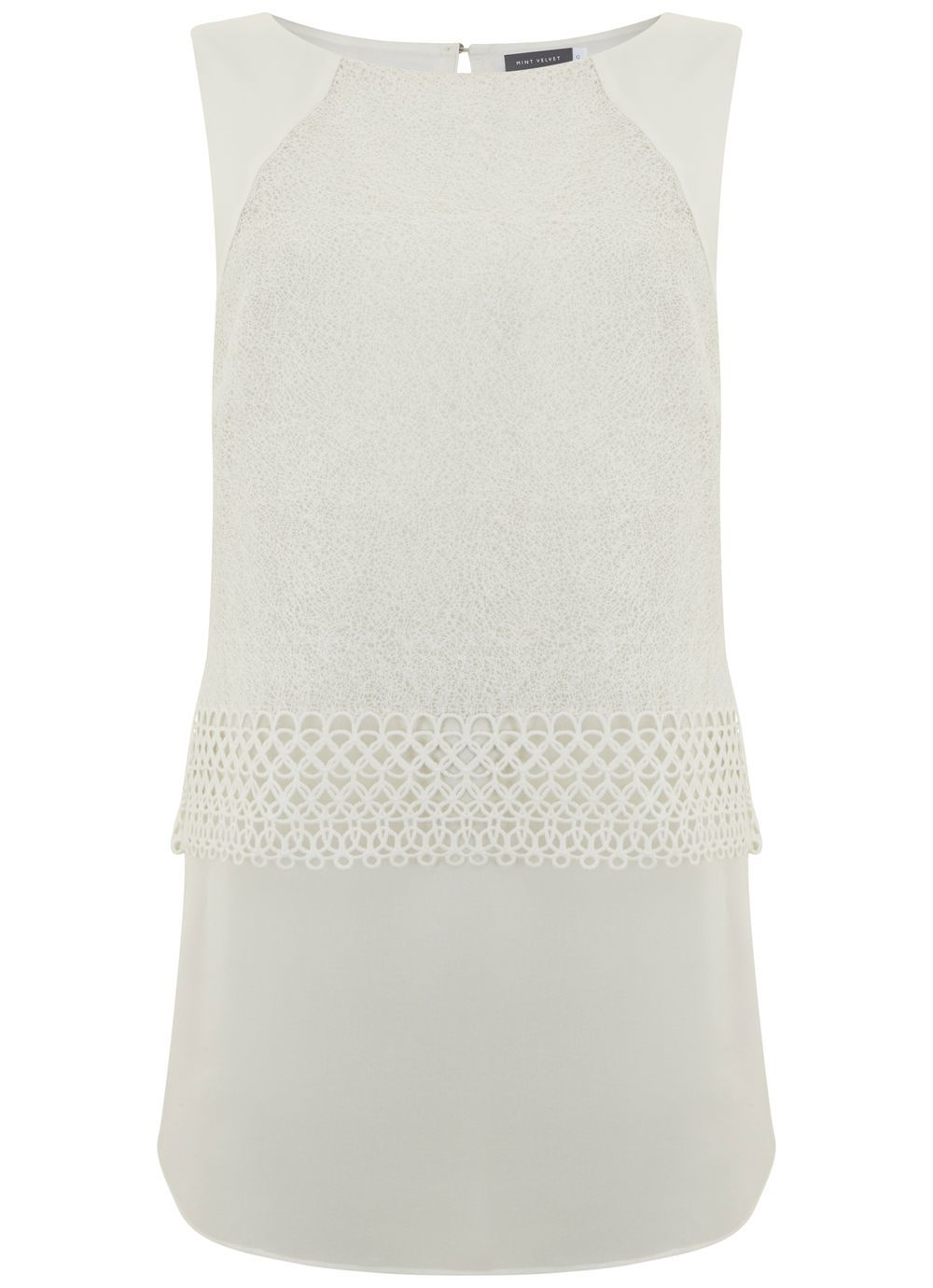Ivory Mesh Lace Shell Top, Ivory - pattern: plain; sleeve style: sleeveless; style: vest top; predominant colour: ivory/cream; occasions: casual; length: standard; fibres: polyester/polyamide - 100%; fit: body skimming; neckline: crew; sleeve length: sleeveless; pattern type: fabric; texture group: other - light to midweight; embellishment: lace; season: s/s 2016; wardrobe: highlight