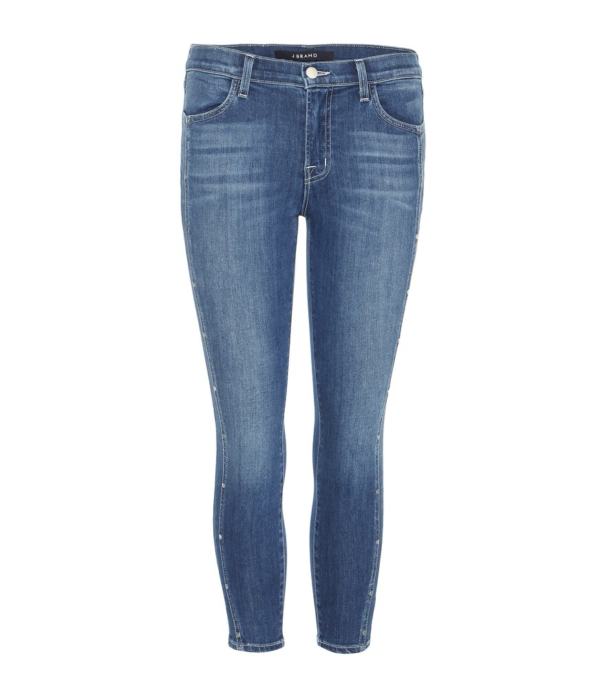Alba Mid Rise Cropped Skinny Jeans - style: skinny leg; pattern: plain; pocket detail: traditional 5 pocket; waist: mid/regular rise; predominant colour: navy; occasions: casual; length: calf length; fibres: cotton - stretch; jeans detail: whiskering, washed/faded; texture group: denim; pattern type: fabric; season: s/s 2016; wardrobe: basic
