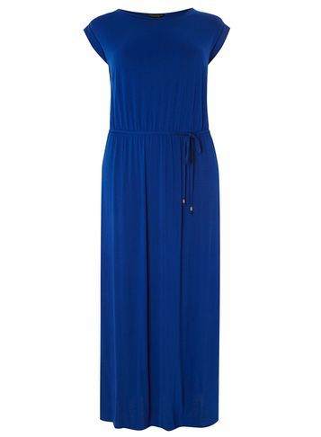 Womens **Dp Curve Cobalt T Shirt Maxi Dress Cobalt - sleeve style: capped; pattern: plain; style: maxi dress; length: ankle length; waist detail: belted waist/tie at waist/drawstring; predominant colour: royal blue; occasions: evening; fit: body skimming; fibres: viscose/rayon - stretch; neckline: crew; sleeve length: short sleeve; pattern type: fabric; texture group: jersey - stretchy/drapey; season: s/s 2016; wardrobe: event