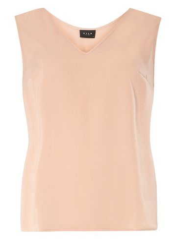 Womens **Vila Peach V Neck Shell Top Pink - neckline: v-neck; pattern: plain; sleeve style: sleeveless; predominant colour: nude; occasions: casual, creative work; length: standard; style: top; fibres: polyester/polyamide - 100%; fit: body skimming; sleeve length: sleeveless; pattern type: fabric; texture group: other - light to midweight; season: s/s 2016; wardrobe: basic