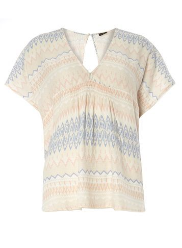 Womens **Vila Aztec Top Multi Colour - neckline: v-neck; style: t-shirt; predominant colour: blush; secondary colour: denim; occasions: casual, holiday; length: standard; fibres: viscose/rayon - 100%; fit: body skimming; sleeve length: short sleeve; sleeve style: standard; pattern type: fabric; pattern: patterned/print; texture group: other - light to midweight; multicoloured: multicoloured; season: s/s 2016; wardrobe: highlight