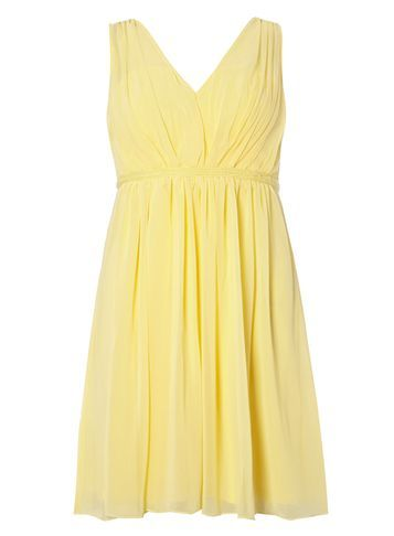 Womens **Vila Yellow Chiffon Dress Yellow - length: mid thigh; neckline: v-neck; pattern: plain; sleeve style: sleeveless; predominant colour: primrose yellow; occasions: evening, occasion; fit: fitted at waist & bust; style: fit & flare; fibres: polyester/polyamide - 100%; sleeve length: sleeveless; texture group: sheer fabrics/chiffon/organza etc.; pattern type: fabric; season: s/s 2016; wardrobe: event